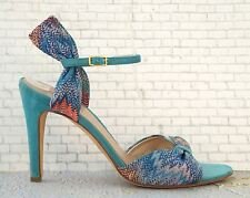 MISSONI Shoes 37.5 Blue Turquoise Suede Open Toe Sandals Heels US 7