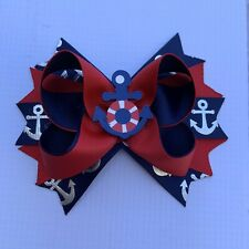 Handmade Navy Red Anchor /Nautical Stacked Boutique Hair Bow