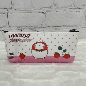 Molang The Happy Rabbit Pink Dot Strawberry Pencil Zip Pouch New