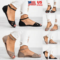 Women's Hollow Casual Summer Ankle Strap Open Toe Flat Sandals Beach Shoes Size