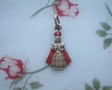 Vintage Catholic Medal INFANT JESUS OF PRAGUE red enamel figural shape 1950's