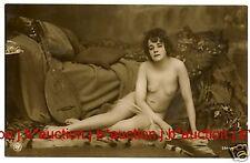 Nude Girl w Mandolin on TIGER SKIN VINTAGE 10s Photo PC