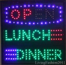 Low price FLASHING OPEN LUNCH AND DINNER LED sign board new window Shop signs