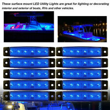 10 Pcs Marine Boat LED Cabin Deck Courtesy Light Stern Transom Lights Blue USA