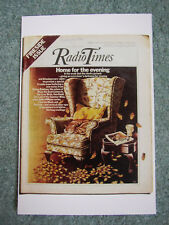 Postcard Vtg Radio Times cover October 1976 Autumn leaves Armchair Cat BBC TV