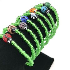 Lady Bug Bracelets Set Of 8 Handmade Glass Bead Stretch Bracelets - NEW
