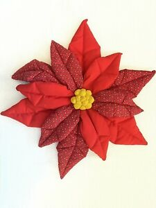 Vintage Puffy Fabric Red Poinsettia Flower Christmas Holiday Wall Door Decor