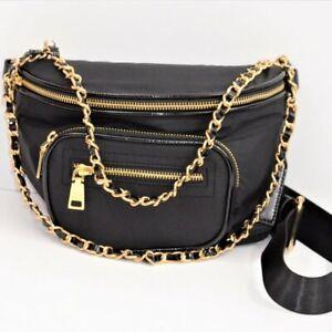 Steve Madden BCharlie Convertible Belt Bag Fanny Pack Crossbody - Black w/Gold