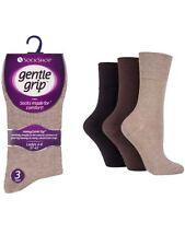 12 Ladies Gentle Grip® Cotton Non Elastic Socks UK 4-8 (SOLRP02G3) Brown