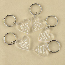 10pcs Personalised Engraved Keychain Clear Love Heart Keyring Wedding Gift Favor