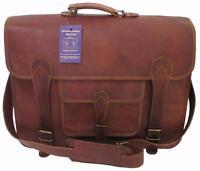 "16""x12x6 Mens Vtg Genuine Leather Messenger Briefcase Laptop Satchel Carry Bag"