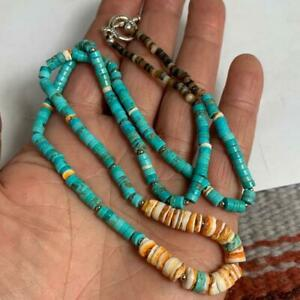 """Spiny oyster shell /genuine turquoise heishi necklace/23""""(w326b-w0.5)"""