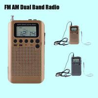 Portable Pocket AM FM Radio Dual Band lCD Digital Tuning Radio Speaker Earphone