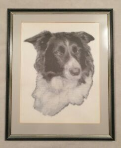 Framed Tapestry of a Black and White Border Collie Dog in a Glazed Frame 21""