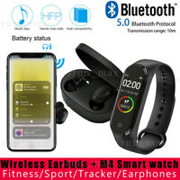 Android Wireless Earbuds Mic Headset Bluetooth 5.0 Earphone+M4 Band Smart Watch