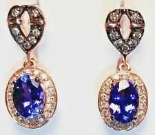 LeVian Chocolatier Blueberry Tanzanite & diamond 2 carats teardrop earrings