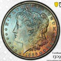1886-P USA MORGAN SILVER DOLLAR PCGS MS63 WONDERFUL UNC COLOR TONED BU (DR)