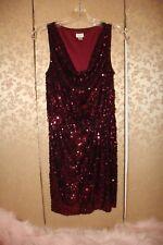 Cache Red Burgundy Cranberry Draped Sequin Sleeveless Dress 2