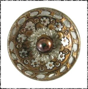 Antique Pigeon Eye Button, Tinted Metal with a Bronze Luster Glass Ball Center