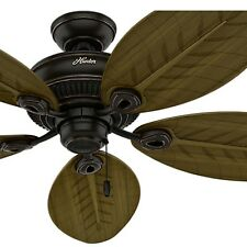 """54"""" Hunter Casual Outdoor Ceiling Fan, Onyx Bengal Finish - Damp Rated"""