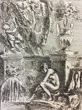 Nicolas poussin Pointe sèche femme nue à la fontaine tirage XVIIIe