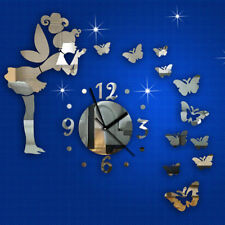 DIY 3D Butterflies Fairy Girl Wall Sticker Mirror Wall Clocks Office Home Decor
