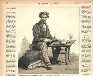 Portrait Autoportrait de Isidore Pils Peintre France GRAVURE ANTIQUE PRINT 1876