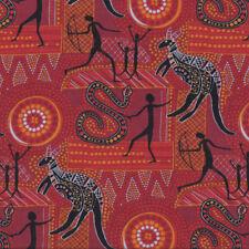 Aboriginal Wilgarup Snakes Kangaroo Australian on Red Quilting Fabric FQ or Metr