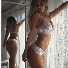 Women Lace Sheer Bralette Bra Briefs G-string Underwear Set Lady Lingerie White