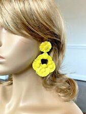Earrings Nickle Free Hypoallergenic Handcrafted Beaded Yellow Post