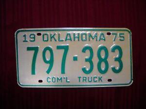 Rare Vintage 1975 Oklahoma License Plate 797-383 Car Auto Man Cave Rat Rod Craft