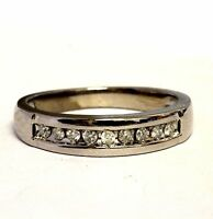 10k white gold .18ct round channel diamond wedding band ring 4.2g estate
