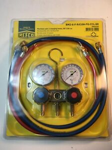 NEW REFCO MANIFOLD BM2-6-F-R410A-FG-CCL-60 WITH CHARGING HOSES #4662526