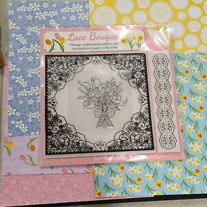 Lace Bouquet Stamp, Embossing Folders and Springtime Paper Collection