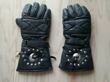 Genuine Leather Men's Motorcycle High Gloves with Studs. Black. US L