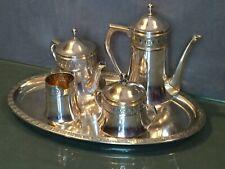 Service à thé café en métal argenté théière cafetière plateau sucrier pot à lait
