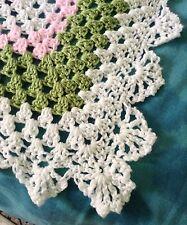THREE WASH GUARANTEE Handmade Crochet Baby Blanket NEW Afghan Pink, Green, White