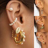 Mode Perle Kristall Strass CZ Ohrstulpe Ohrringe für Frauen Hochzeit Schmuck