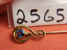 Vintage Exquisite 10K Yellow Gold Blue Stone Hatpin Stickpin LAPEL PIN Lot 2565