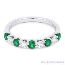 0.77 ct Round Cut Emerald & Diamond 18k White Gold Anniversary Ring Wedding Band