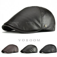 VOBOOM Lamb Leather Ivy Cap Mens Black/Brown Gatsby Newsboy Hat Driving Flat Cap