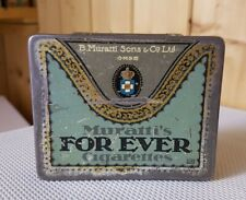 "Alte Blechdose * B. Muratti * Zigarettendose ""FOR EVER"" * 20 Cigarettes old tin"
