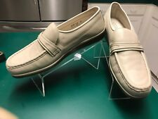Florsheim Sz 13D Beige Leather Strap Loafer Trendy Riva Shoes Slip On Easy Fit