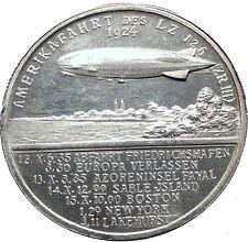 1924 Weimar Germany Dr Hugo Eckener ZEPPELIN to America Silver Medal i63493