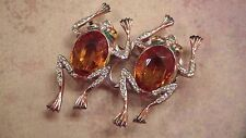 Coro Sterling Duette Clips, Two Frogs with Amber Bodies
