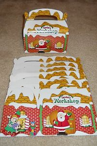 Lot of 6 or 12 Santa's Workshop Christmas holiday treat cookie candy gift box
