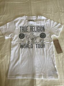 TRUE RELIGION Buddha State World Tour T-SHIRT Black White BOYS YOUTH S (8) NWT