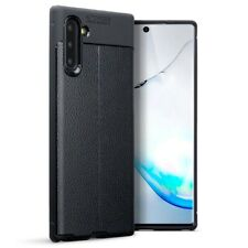 Samsung Galaxy Note 10 TPU Gel Silicone Rubber Case Leather Texture in Black