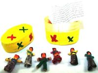 Six (6) Little Worry Doll Dolls In A Wooden Box By Mayan Artisans Fair Trade