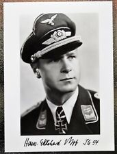 German Luftwaffe Pilot HANS EKKEHARD BOB - World War II autographed photo JG54